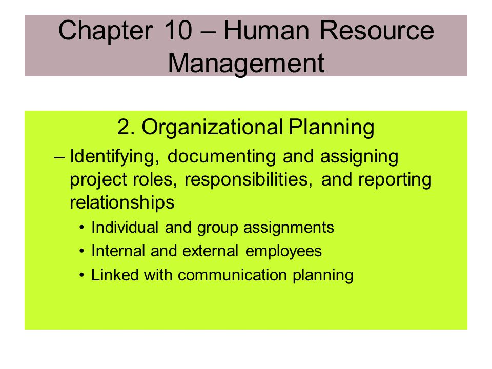 Chapter 10 – Human Resource Management