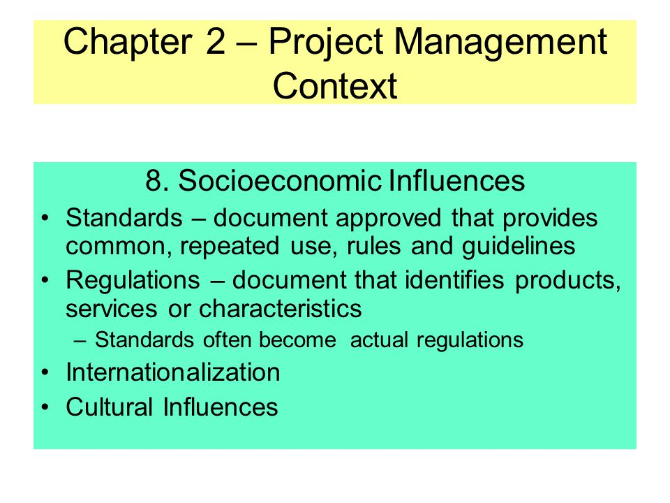 Chapter 2 – Project Management Context