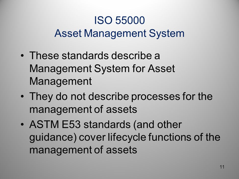 ISO 55000 Asset Management System