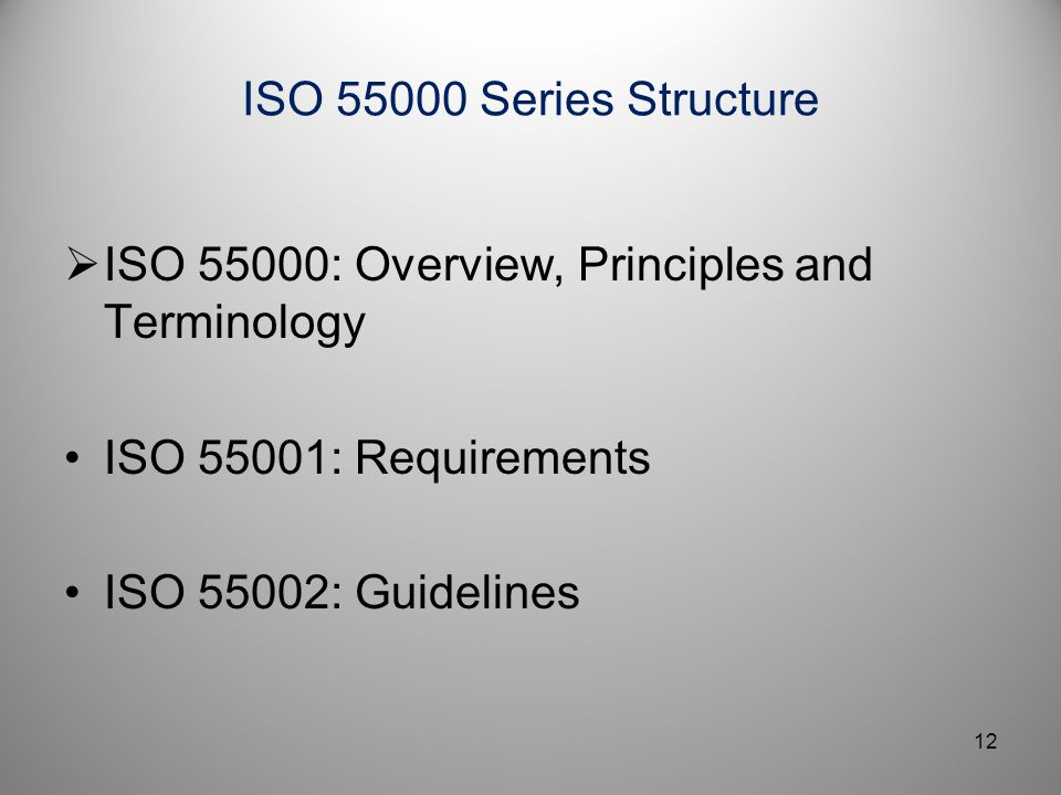 ISO 55000: Overview, Principles and Terminology