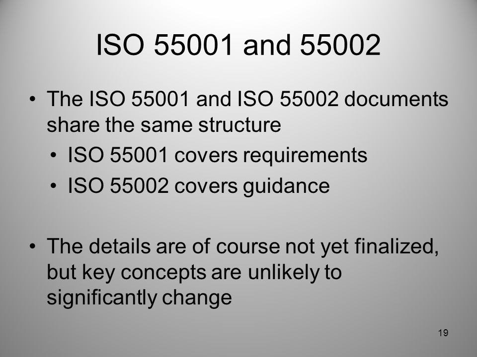 ISO 55001 and 55002 The ISO 55001 and ISO 55002 documents share the same structure. ISO 55001 covers requirements.