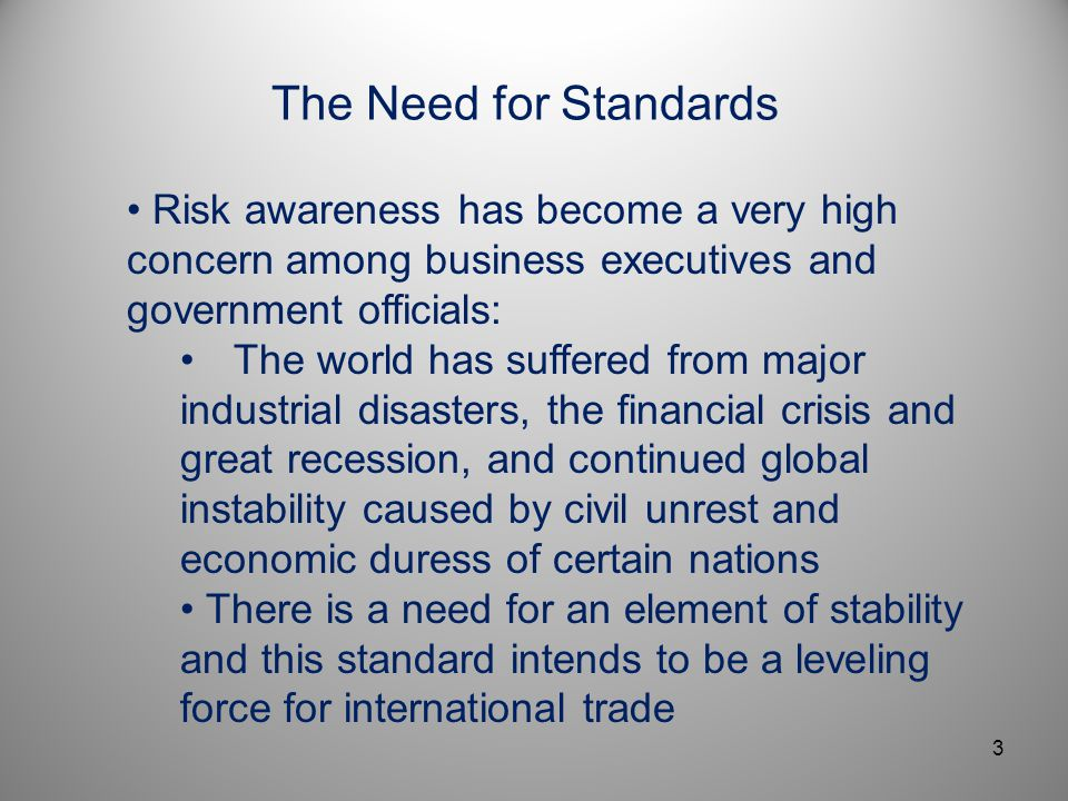 Presentation Title April 5, 2017. The Need for Standards.