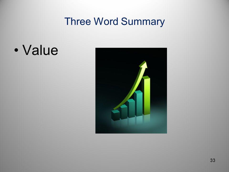 Three Word Summary Value