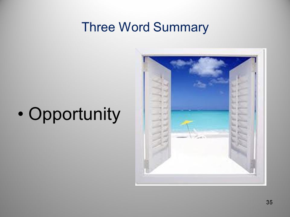 Three Word Summary Opportunity