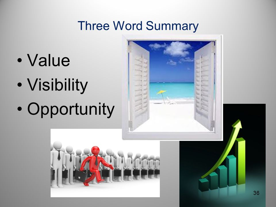 Three Word Summary Value Visibility Opportunity