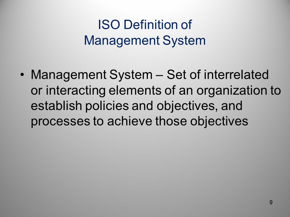 ISO Definition of Management System