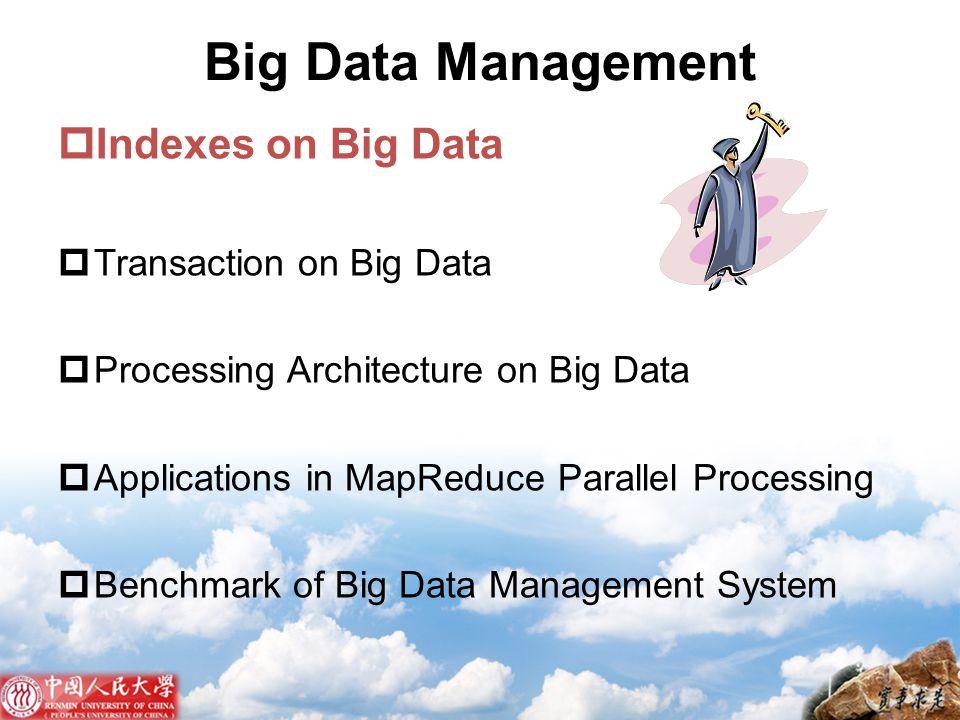 Big Data Management Indexes on Big Data Transaction on Big Data