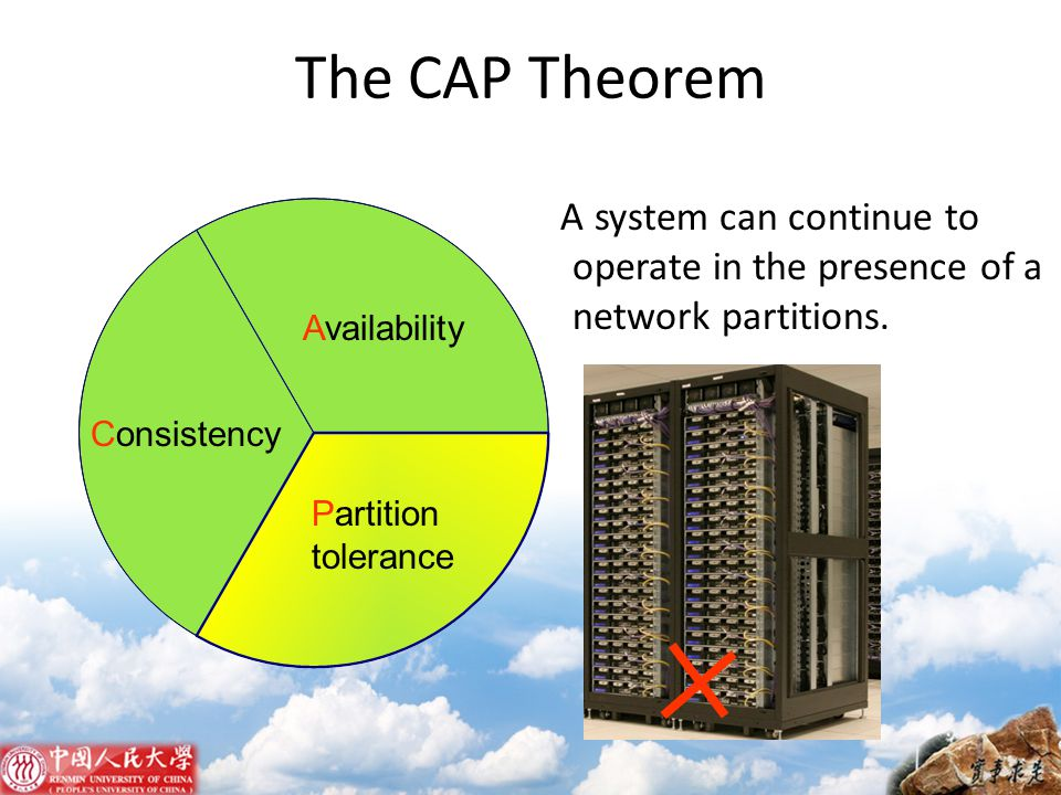 The CAP Theorem A system can continue to operate in the presence of a network partitions. Availability.