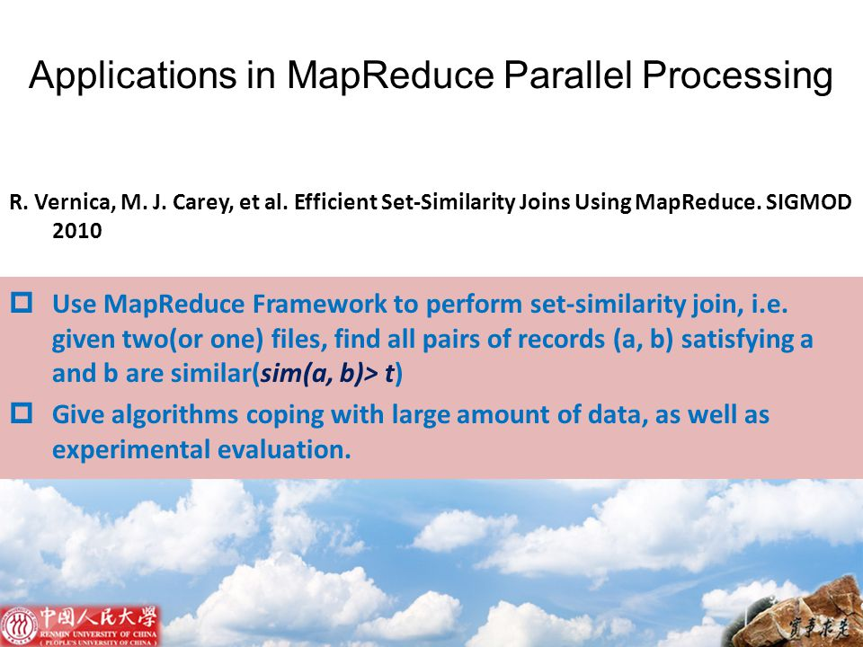 Applications in MapReduce Parallel Processing