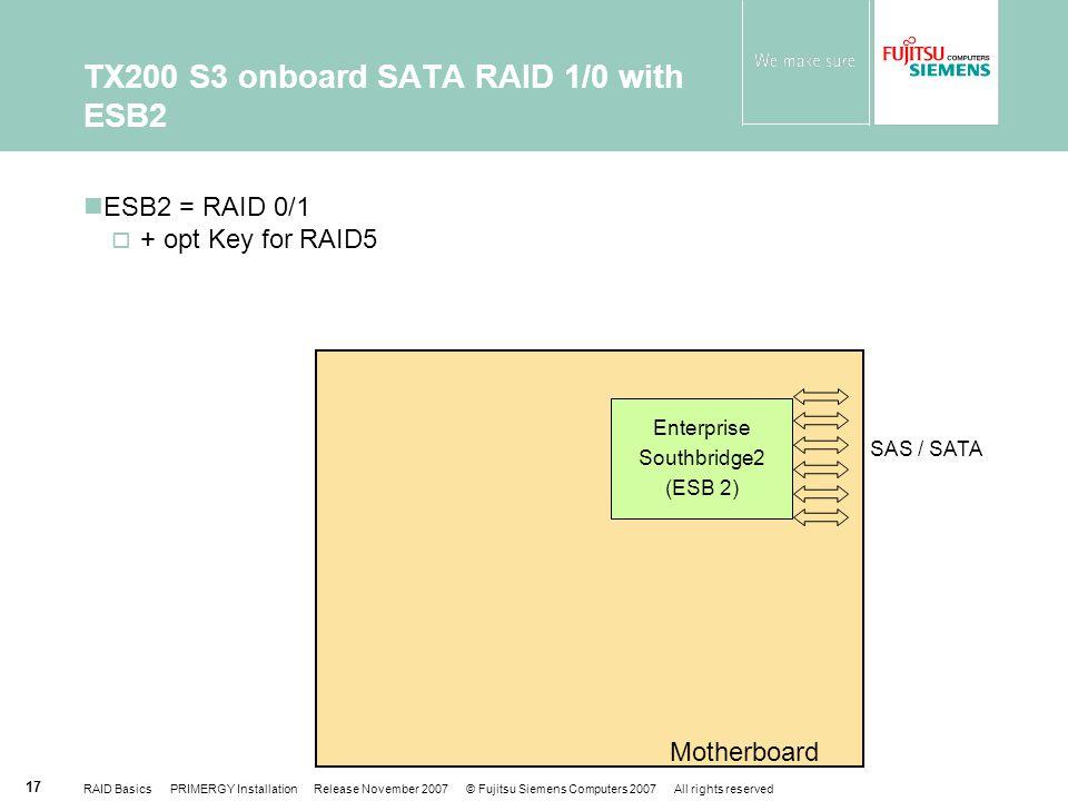 TX200 S3 onboard SATA RAID 1/0 with ESB2