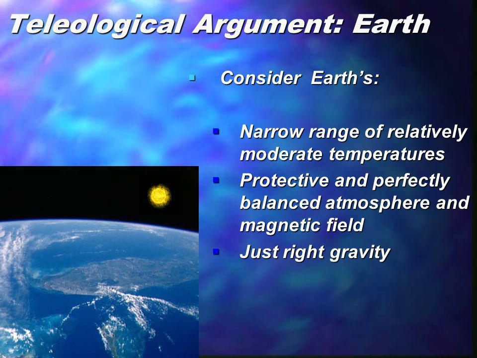 Teleological Argument: Earth