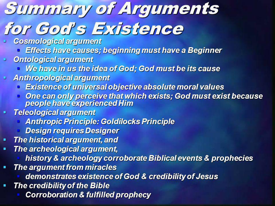 Summary of Arguments for God's Existence