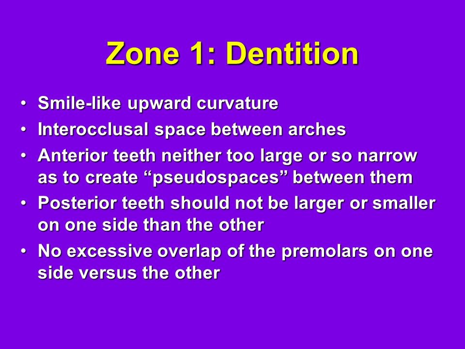Zone 1: Dentition Smile-like upward curvature