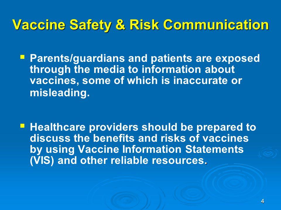 Vaccine Safety & Risk Communication