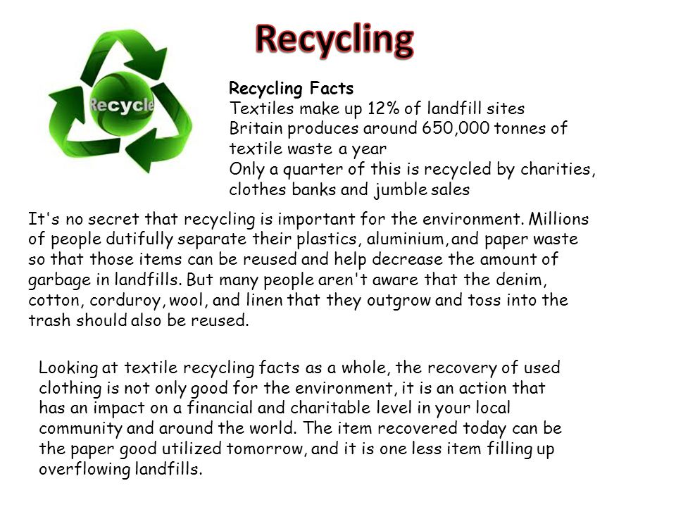 Recycling Recycling Facts Textiles make up 12% of landfill sites