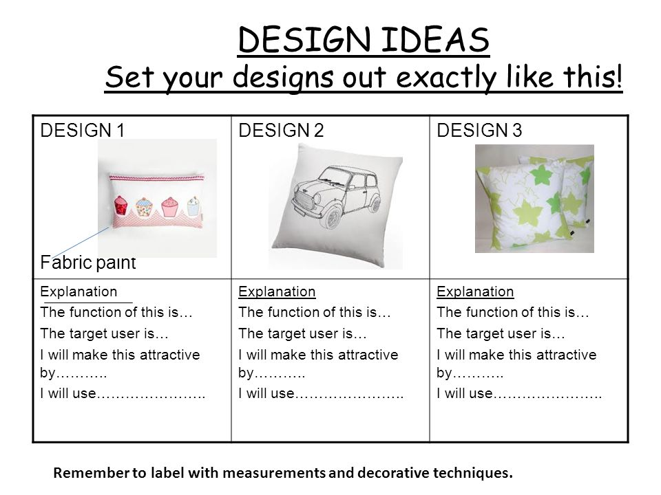 DESIGN IDEAS Set your designs out exactly like this!