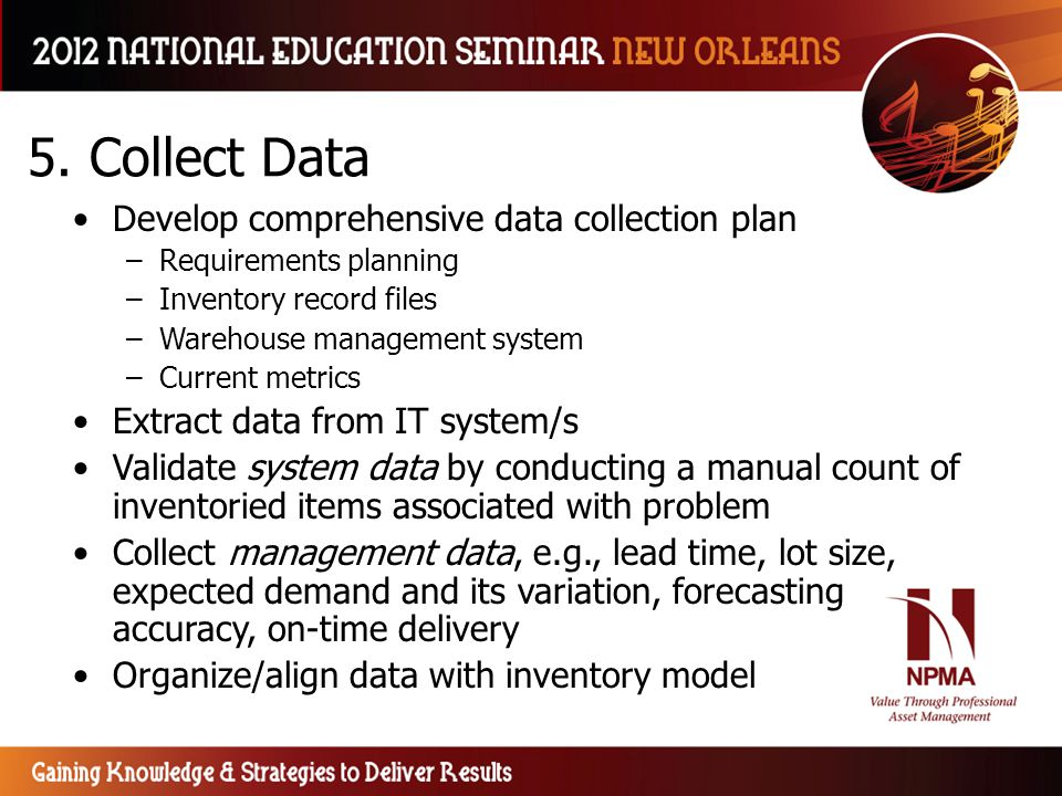 5. Collect Data Develop comprehensive data collection plan