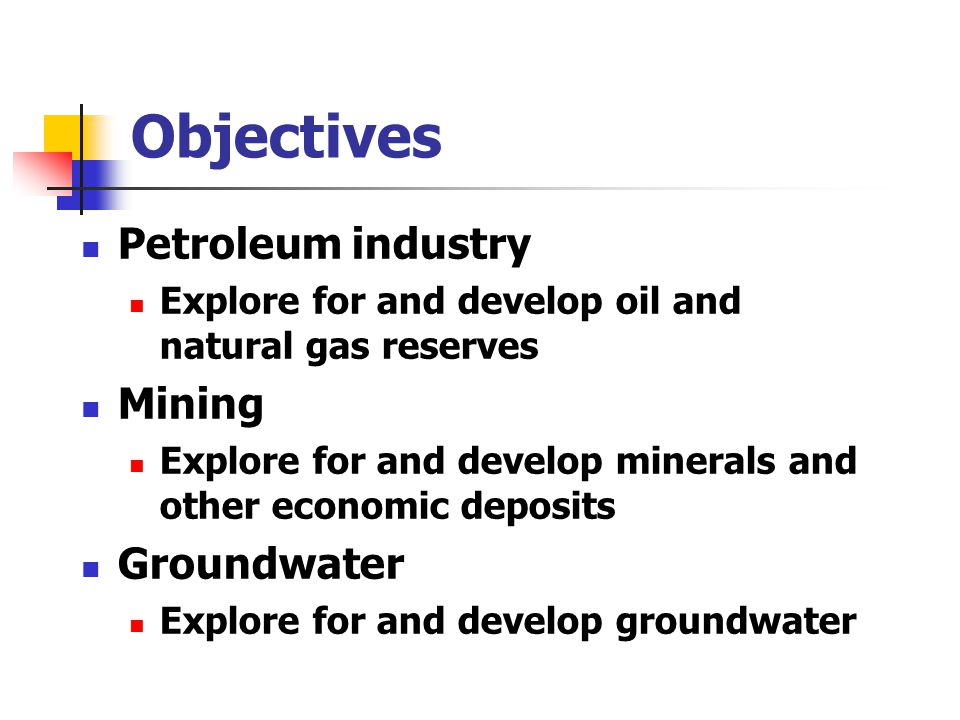 Objectives Petroleum industry Mining Groundwater