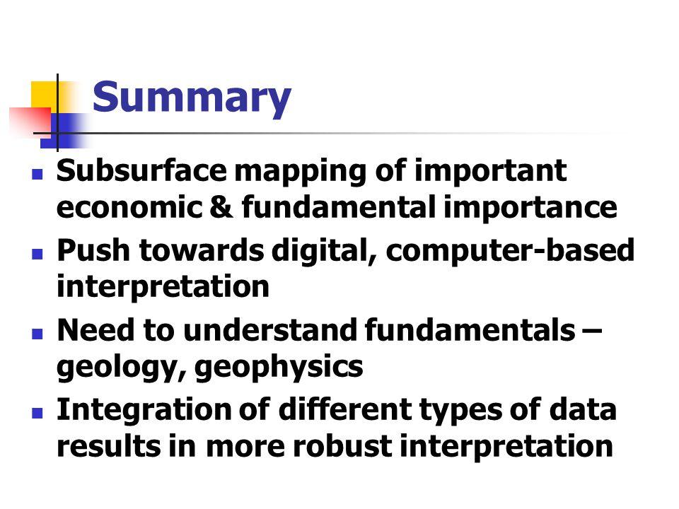 Summary Subsurface mapping of important economic & fundamental importance. Push towards digital, computer-based interpretation.