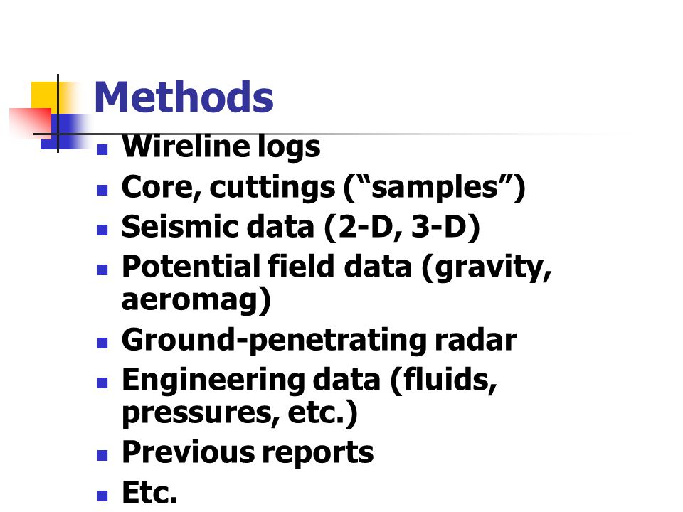 Methods Wireline logs Core, cuttings ( samples )
