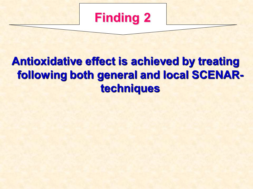 Finding 2 Antioxidative effect is achieved by treating following both general and local SCENAR-techniques.