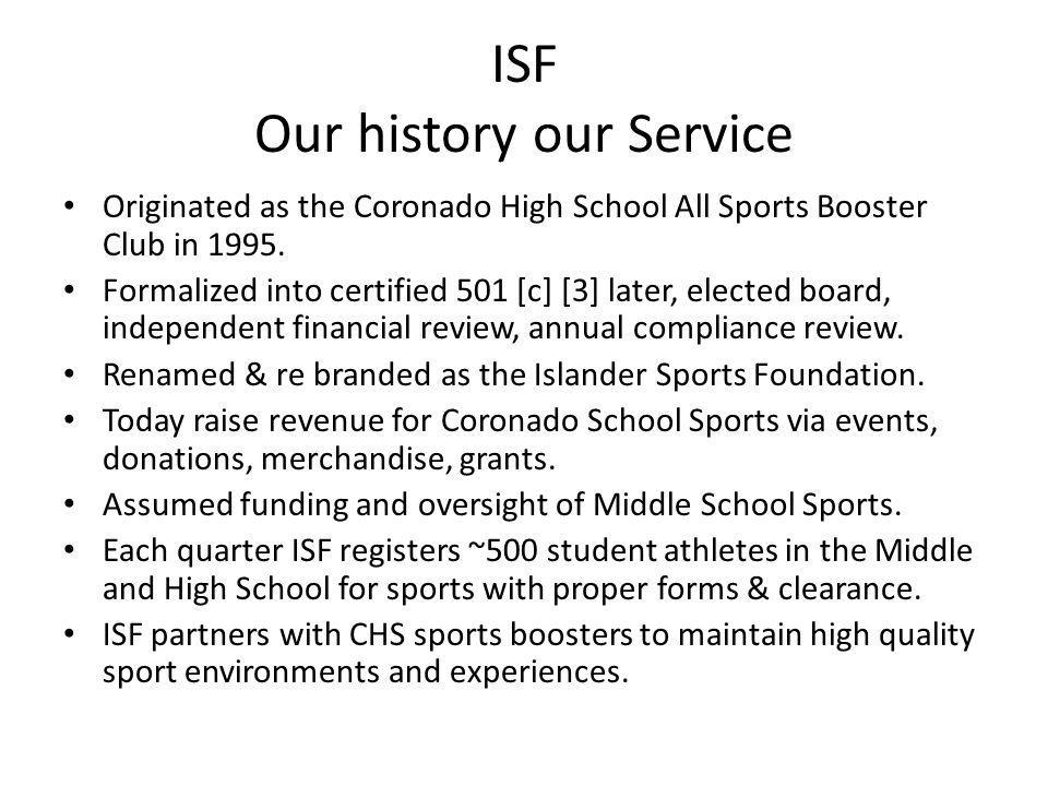 ISF Our history our Service