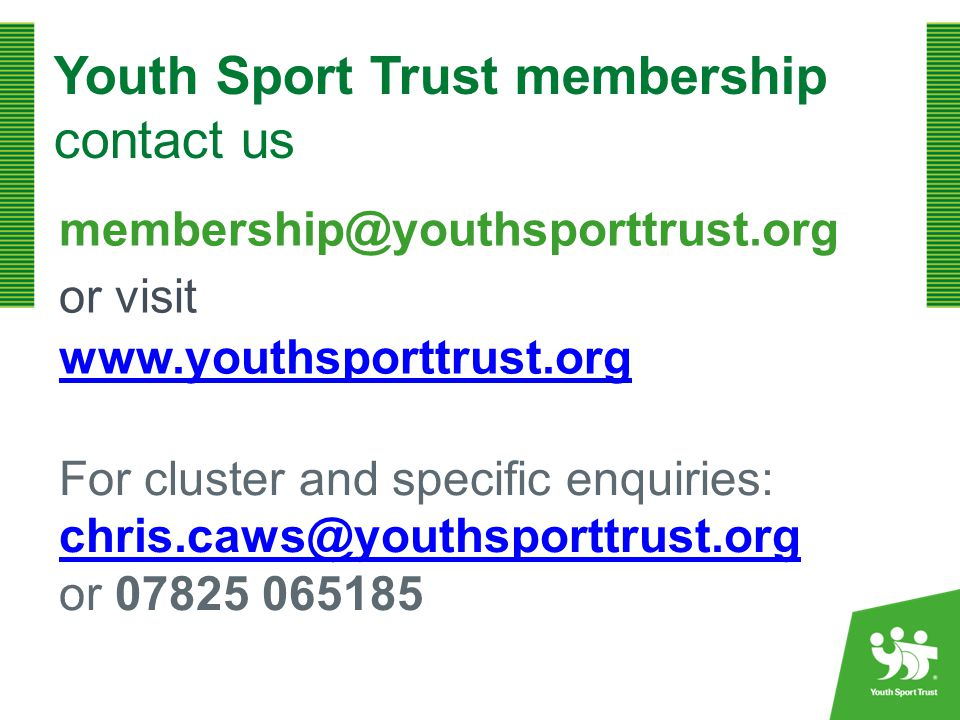 Youth Sport Trust membership contact us