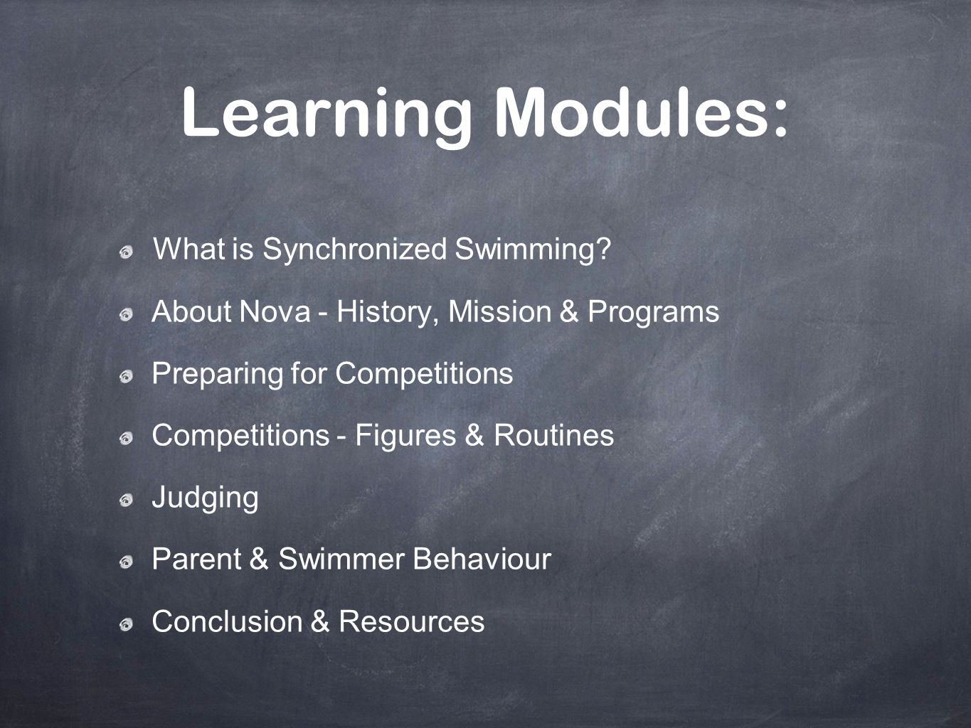 Learning Modules: What is Synchronized Swimming
