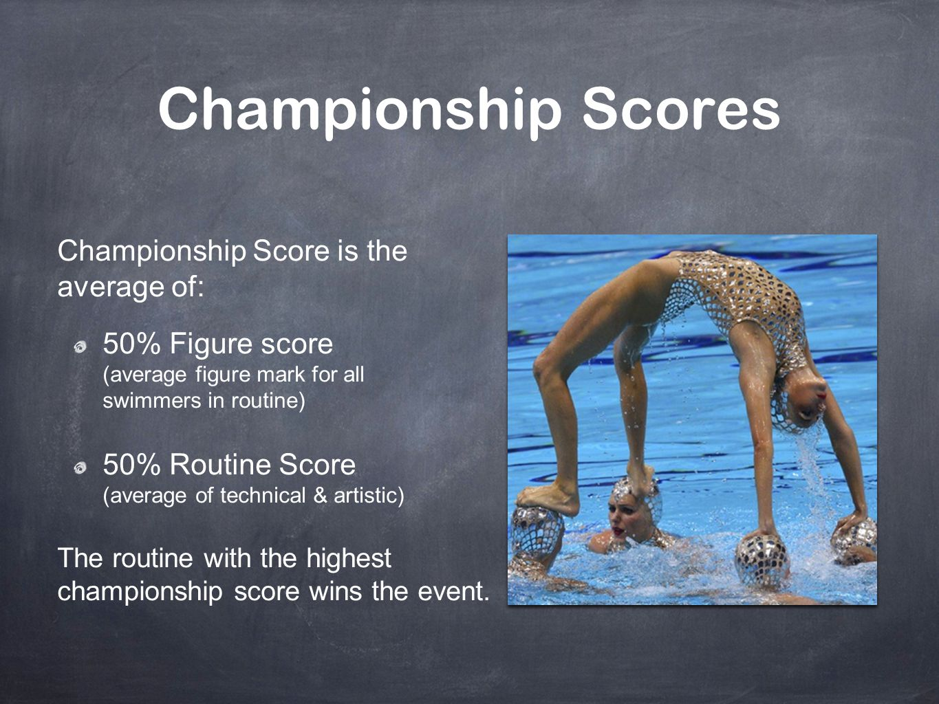 Championship Scores Championship Score is the average of: