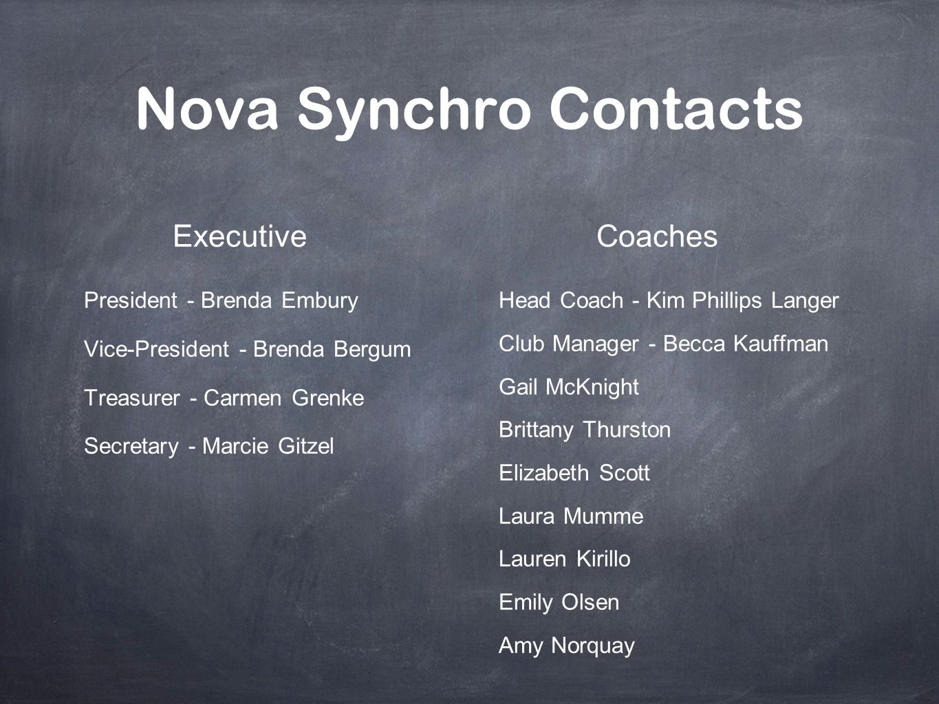Nova Synchro Contacts Executive Coaches President - Brenda Embury