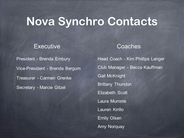 Nova Synchro Contacts Executive Coaches President - Brenda Embury