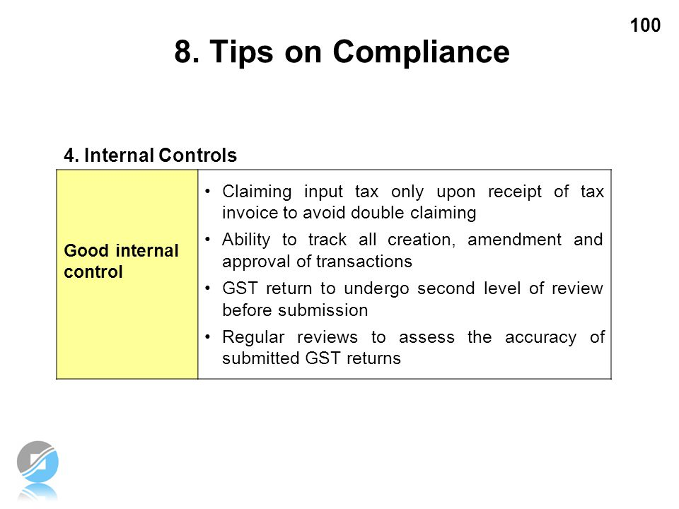 8. Tips on Compliance 4. Internal Controls