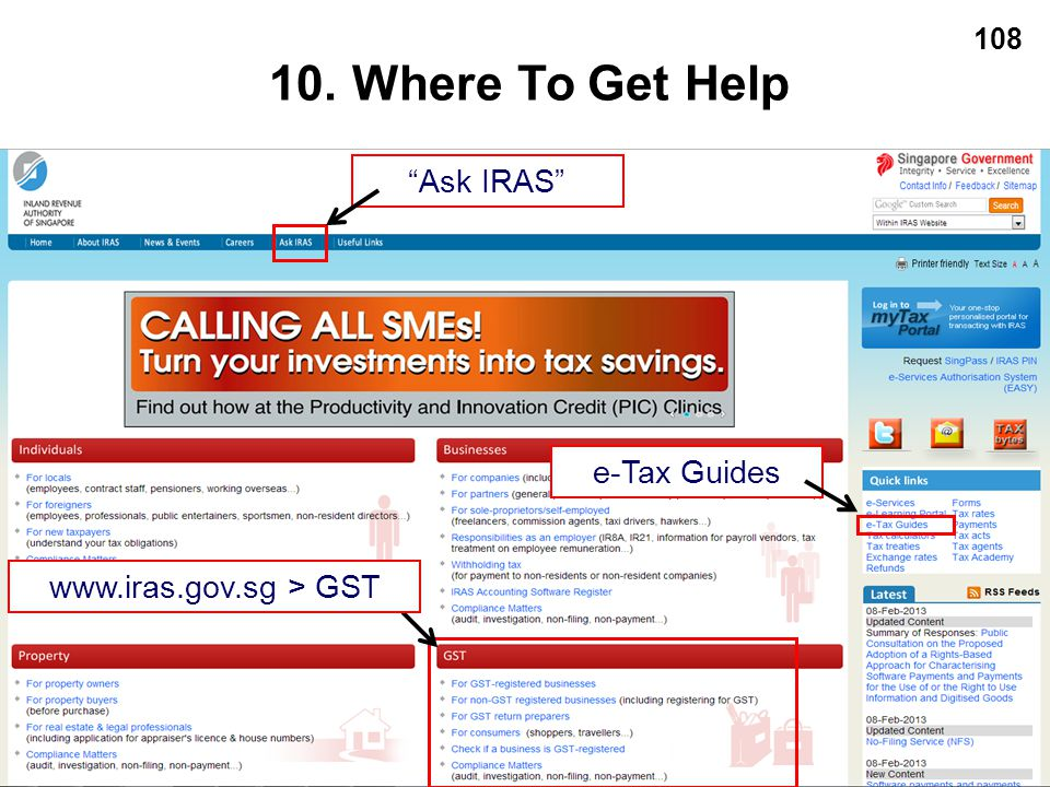 10. Where To Get Help Ask IRAS e-Tax Guides www.iras.gov.sg > GST