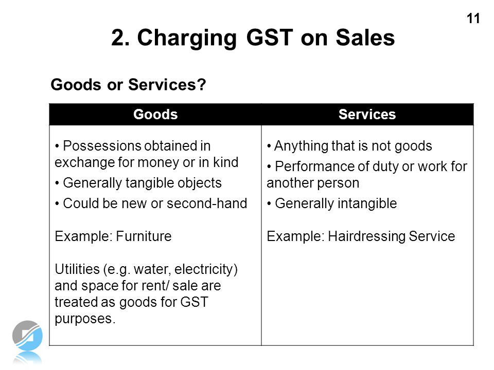2. Charging GST on Sales Goods or Services Goods Services