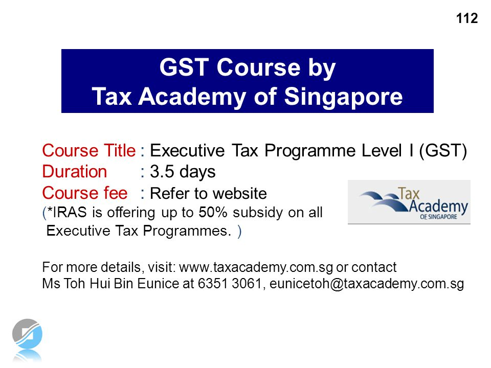 GST Course by Tax Academy of Singapore