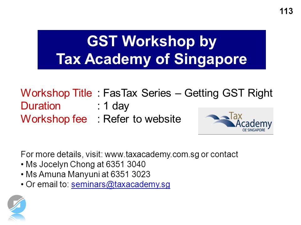 GST Workshop by Tax Academy of Singapore