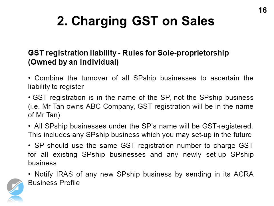 2. Charging GST on Sales GST registration liability - Rules for Sole-proprietorship (Owned by an Individual)