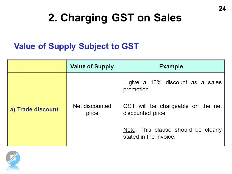 2. Charging GST on Sales Value of Supply Subject to GST