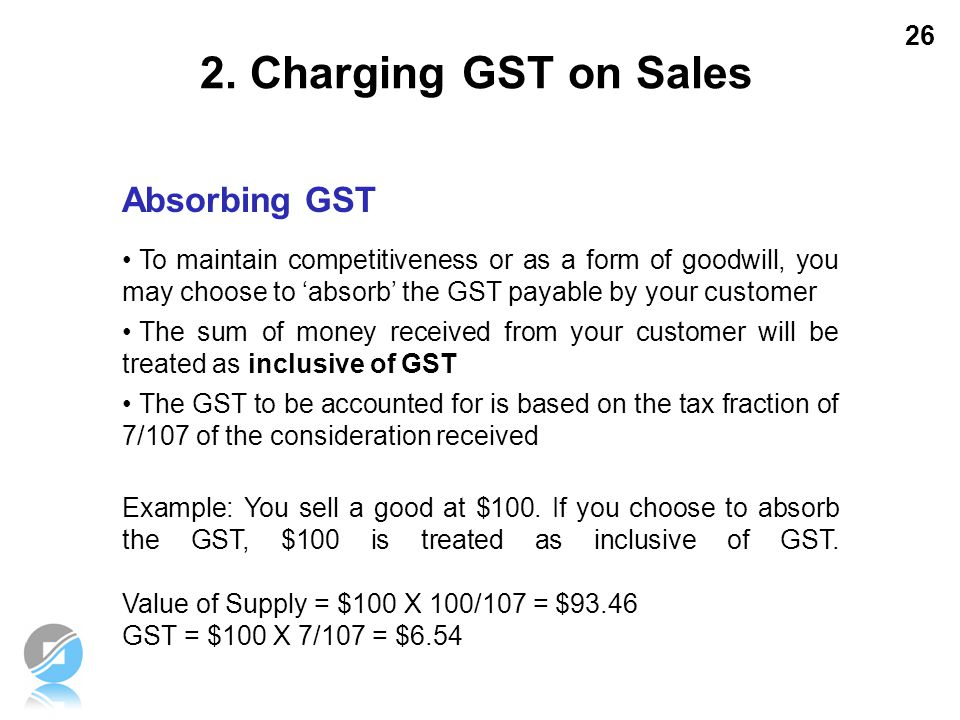 2. Charging GST on Sales Absorbing GST
