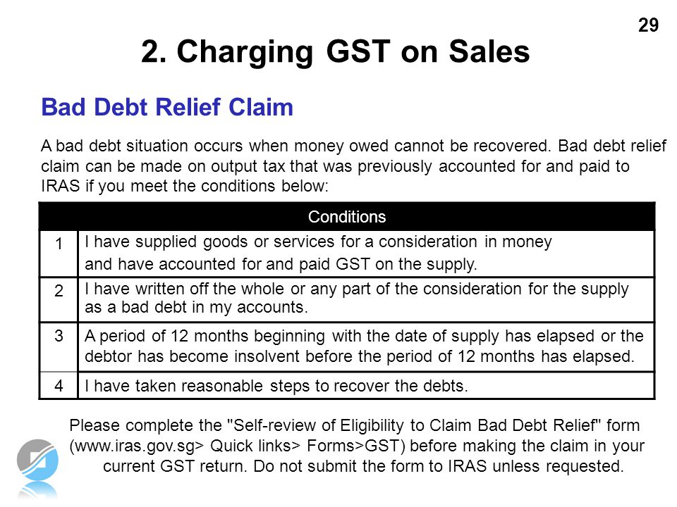 2. Charging GST on Sales Bad Debt Relief Claim