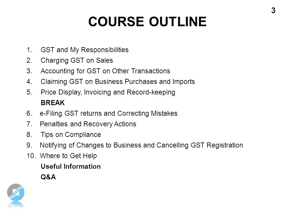 COURSE OUTLINE GST and My Responsibilities Charging GST on Sales