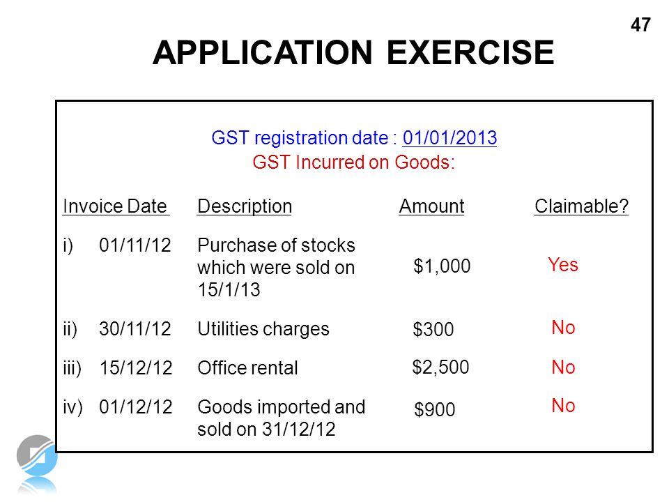 GST registration date : 01/01/2013