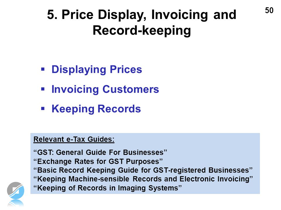 5. Price Display, Invoicing and Record-keeping