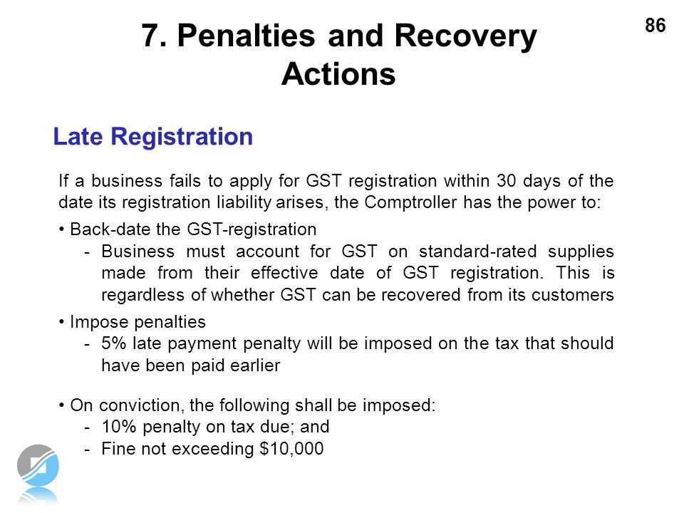 7. Penalties and Recovery Actions