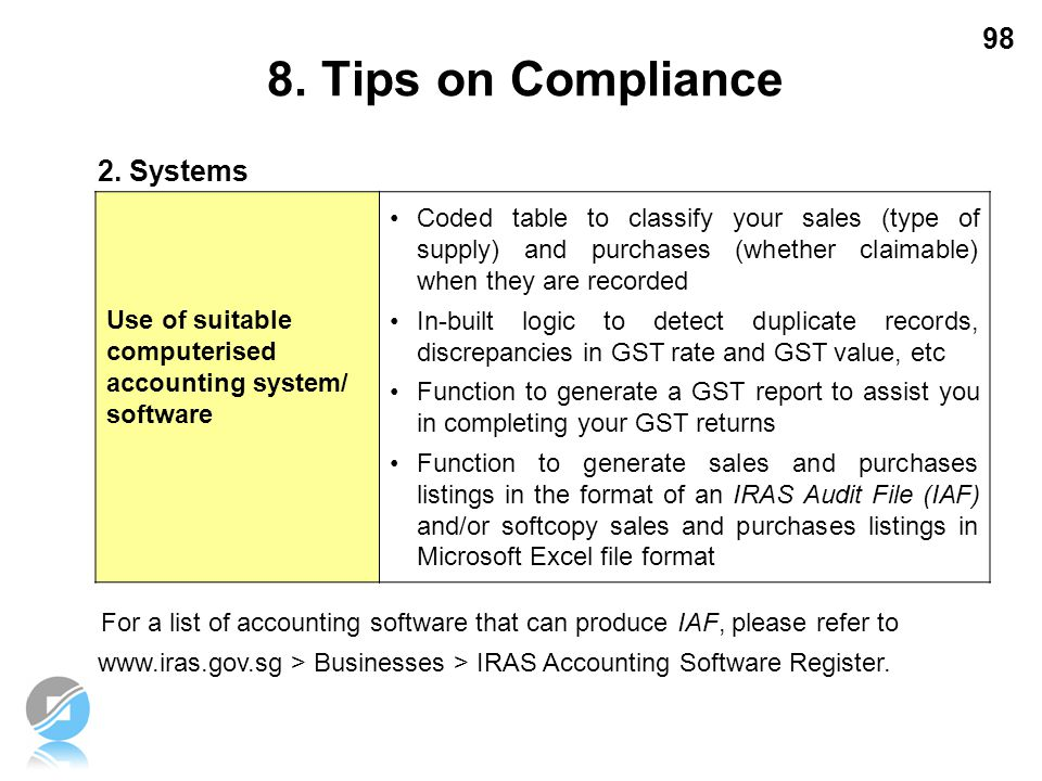 8. Tips on Compliance 2. Systems
