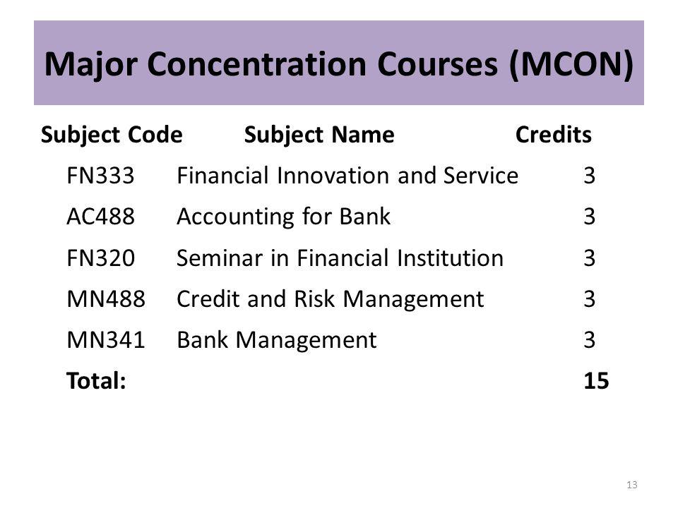Major Concentration Courses (MCON)