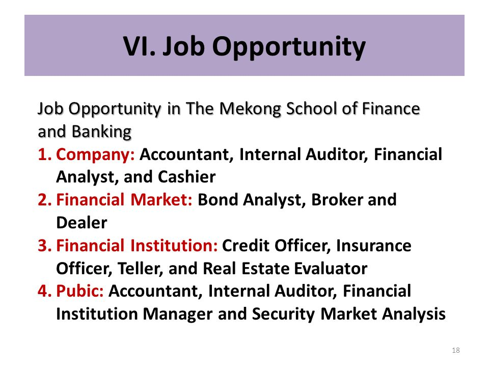 VI. Job Opportunity Job Opportunity in The Mekong School of Finance and Banking.