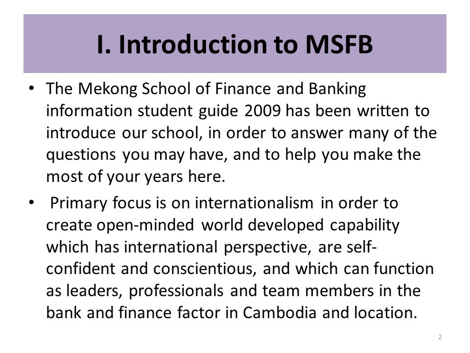 I. Introduction to MSFB