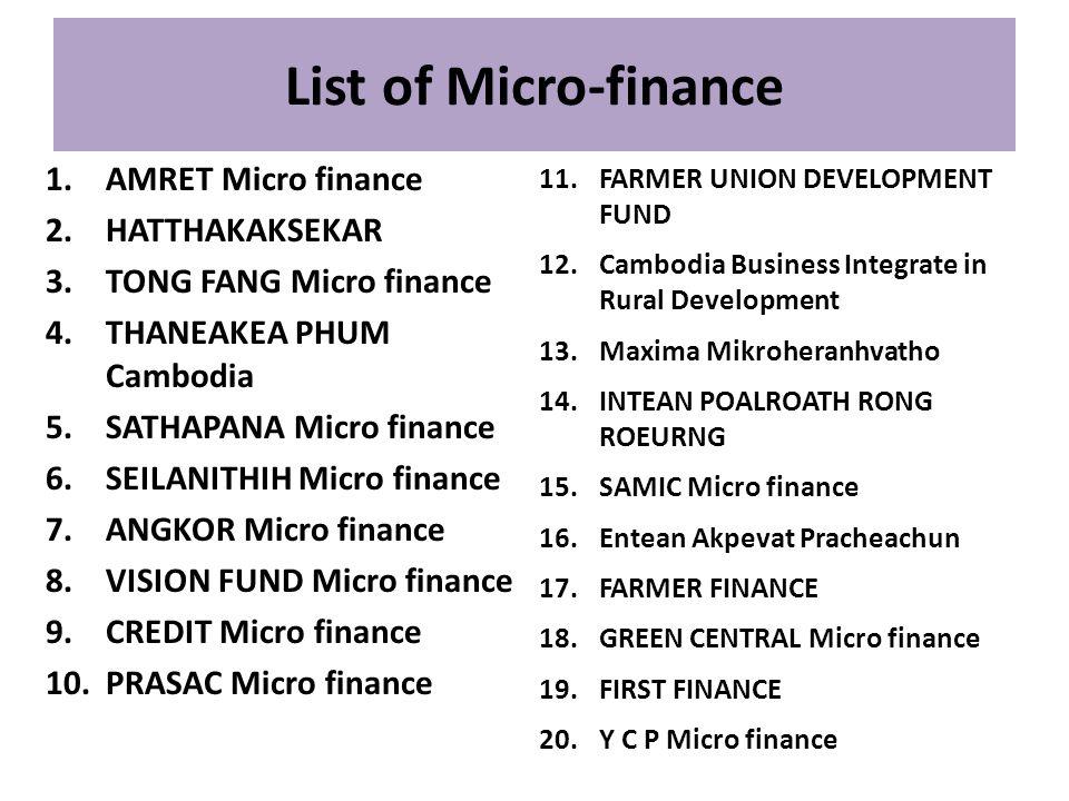 List of Micro-finance AMRET Micro finance HATTHAKAKSEKAR