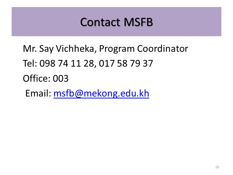 Contact MSFB Mr.